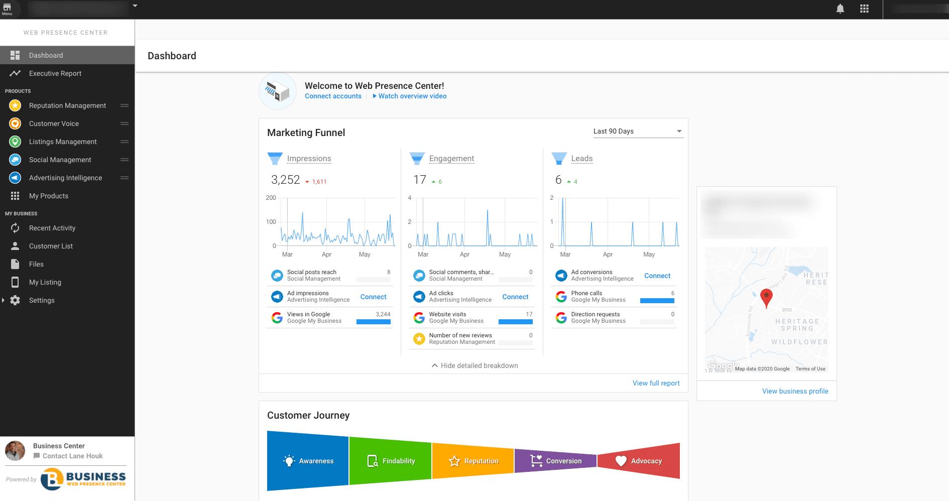 Web Presence Center Dashboard